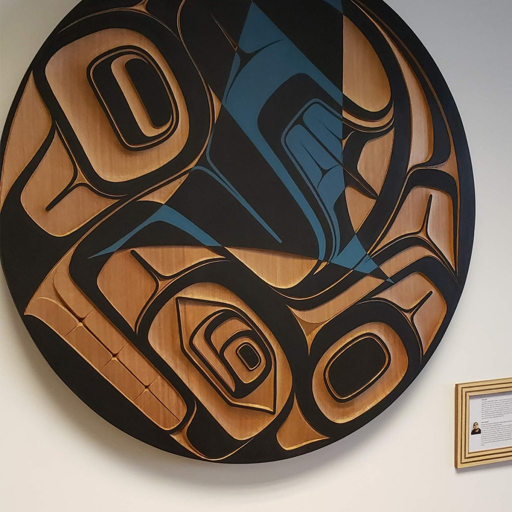 Double-Finned Orca - Red Cedar Panel by Ernest Swanson
