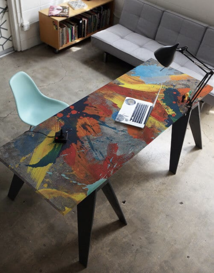 colorful table with a blue chair